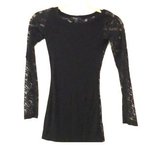 Tops - Black spandex and lace long sleeve shirt